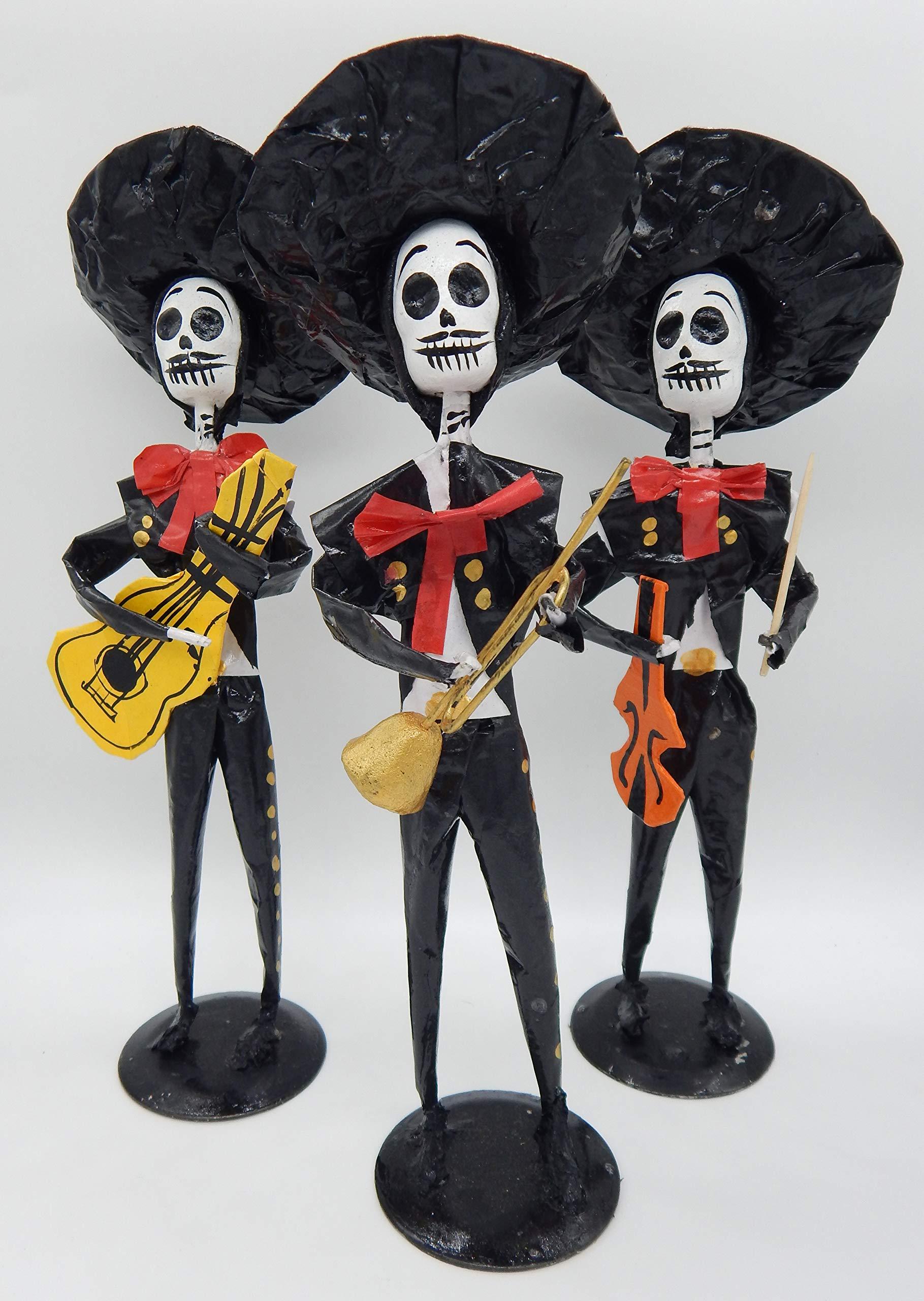 COLOR Y TRADICIÓN Mexican Catrina Doll Paper Mache Figure Day of The Dead Handmade Art Mariachi Band #1502 by COLOR Y TRADICIÓN