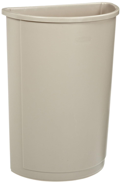 Rubbermaid Commercial 352000BG Untouchable Waste Container, Half-Round, Plastic, 21gal, Beige