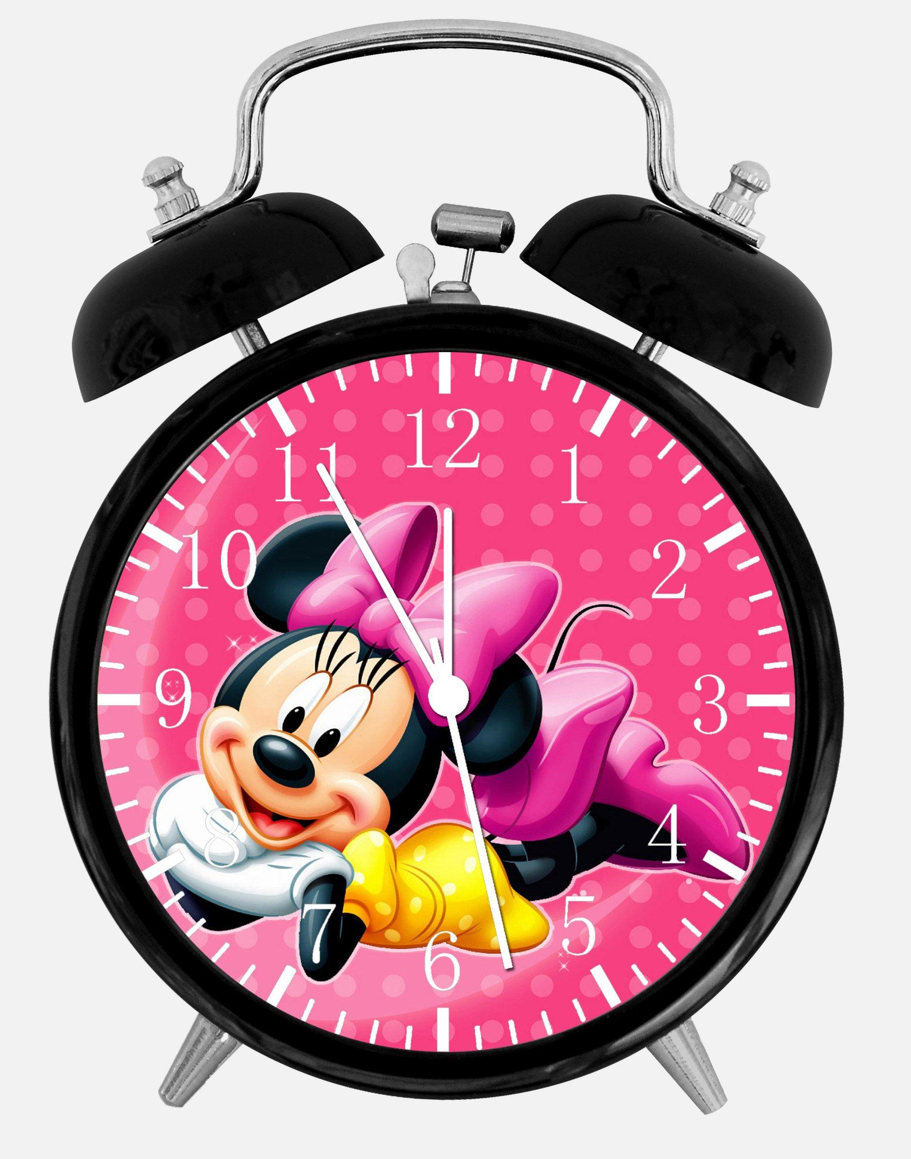 Disney Minnie Mouse Alarm Desk Clock 3.75'' Home or Office Decor E123 Nice For Gift