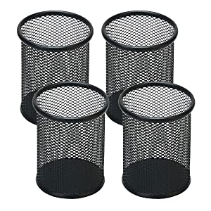 Snow Cooler Pen Holder Mesh Pencil Holder for Desk Office Pen Organizer Black, 4 Pack