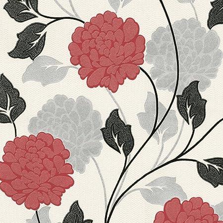 Flower Floral Textured Wallpaper Metallic Glitter Effect White Red