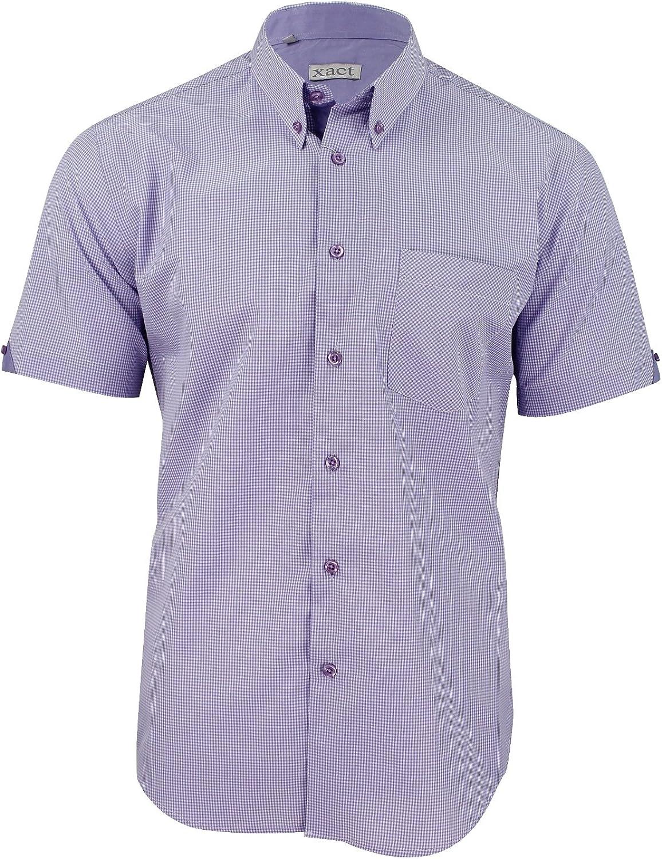 Xact Clothing - Camisa Casual - Cuadrados - con Botones - Manga Corta - para Hombre