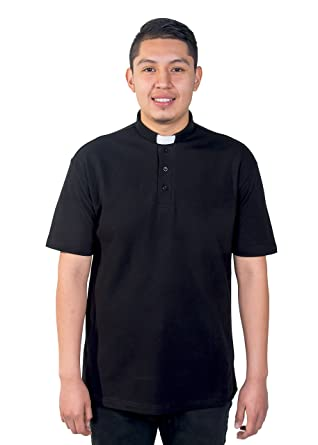 d95dd9f7f35bc9 Mercy Robes Mens Clergy Polo Short Sleeves TAB Shirt (Black) at Amazon Men's  Clothing store: