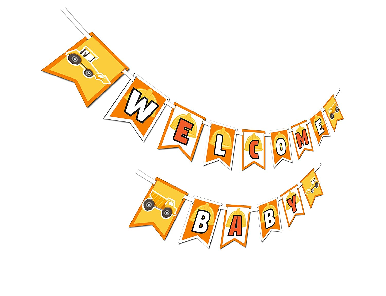 Construction Trucks Multi-Use Happy Birthday or Welcome Baby Shower Party Banner Decoration 23ft Ribbon