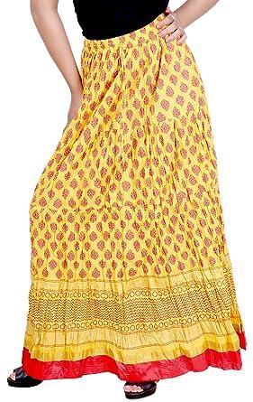 806493625 Vani Women's Cotton Ethnic Skirt (FrillYellow1, Yellow): Amazon.in ...