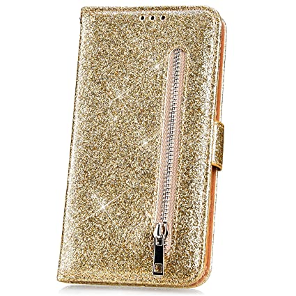 JAWSEU Kompatibel mit Samsung Galaxy J4 Plus H/ülle Bling Glitzer H/ülle Leder Flip Case Tasche Handyh/ülle Gl/änzend Diamant Lederh/ülle Brieftasche Wallet Schutzh/ülle Handytasche St/änder,Rosa Rot
