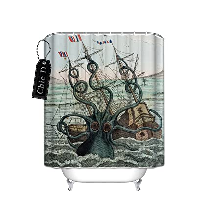 Custom Shower Curtain Sea Monster Kraken Octopus Waterproof Fabric Bathroom 72quot X 84quot