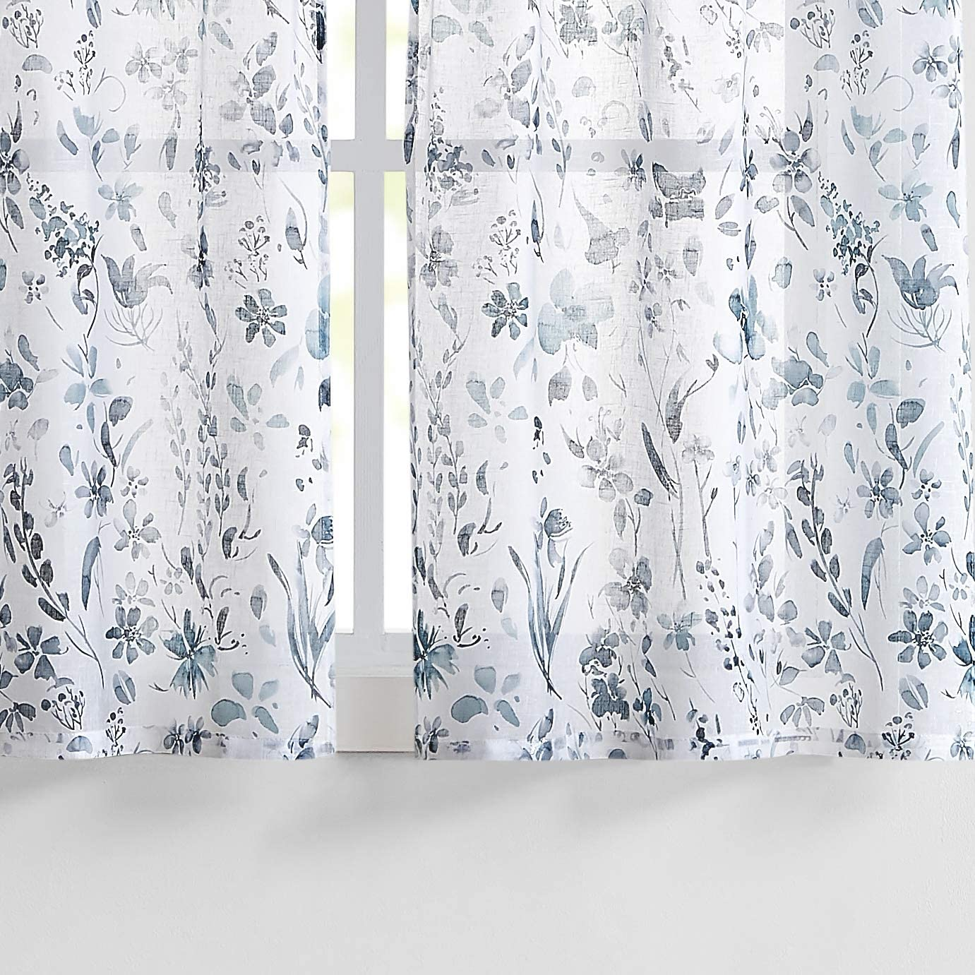 "Fragrantex Dusty Gray Blue Morning Glory Flower Print Tier Curtains 45 inch Length for Kitchen/Travel Trailer Linen Texture Fabric, Rustic Farmhouse Style, 28"" W x 45"" L/Panel, Rod Pocket"