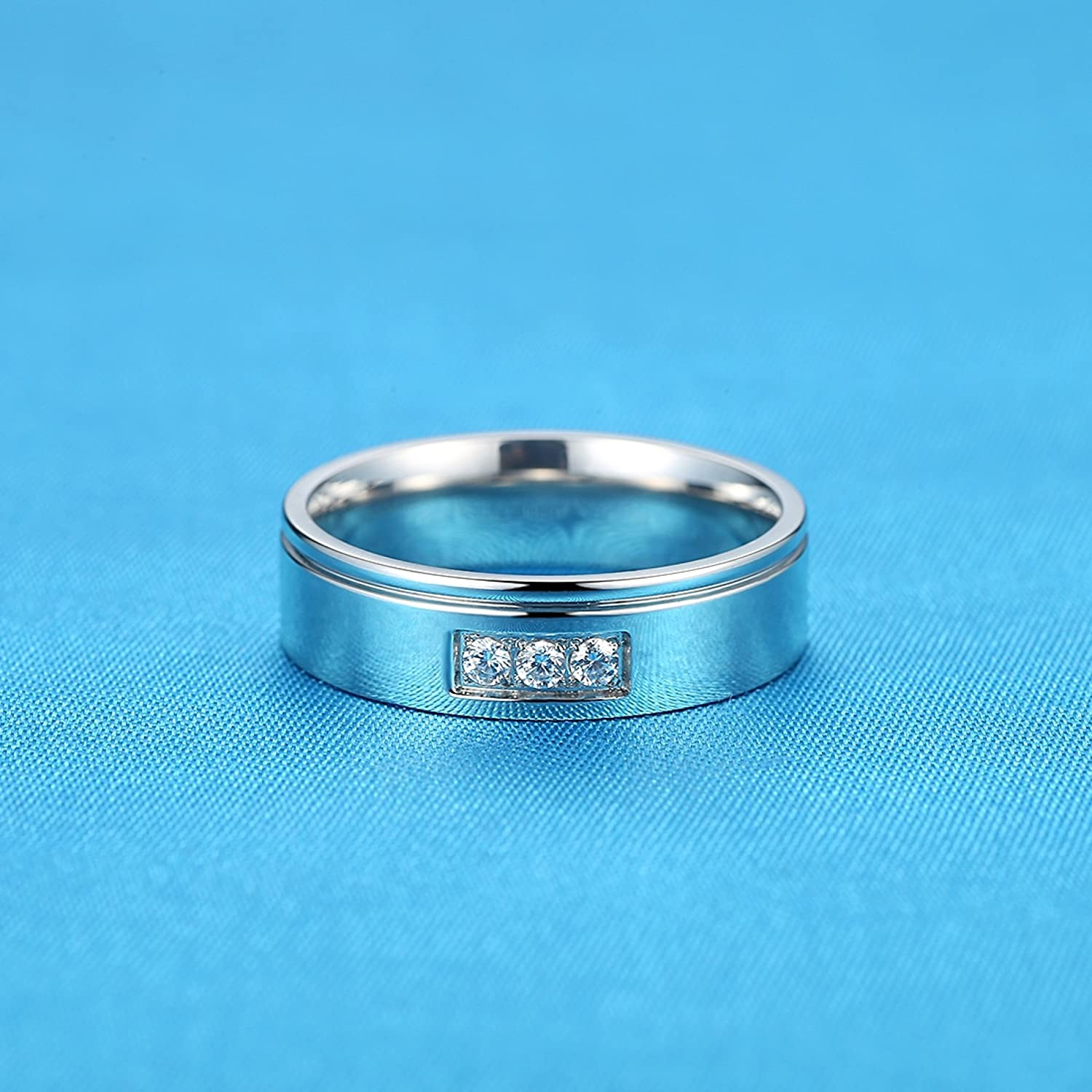 Unisex LineAve Stainless Steel CZ Wedding Band Ring Womens Mens Comfort Fit