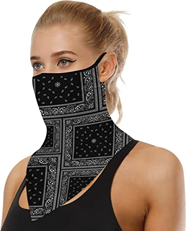Balaclava Tube Scarf with Filter Face Cover Neck Gaiter Bandana Ear Loops Unisex