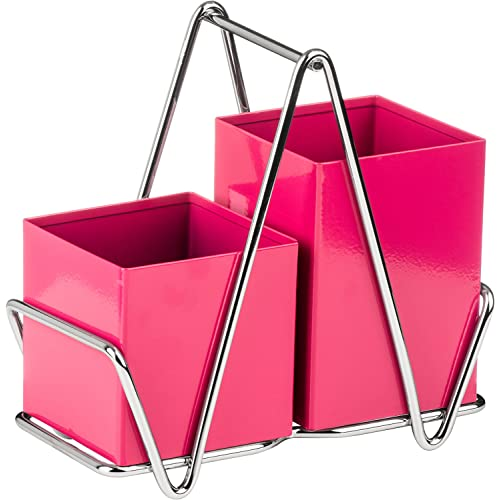 Premier Housewares 2 Compartment Cutlery Caddy - Hot Pink