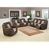 AC Pacific 3 Piece 2 Tone Leather Living Room Set with 5 Recliners, Sofa, Loveseat, Brown