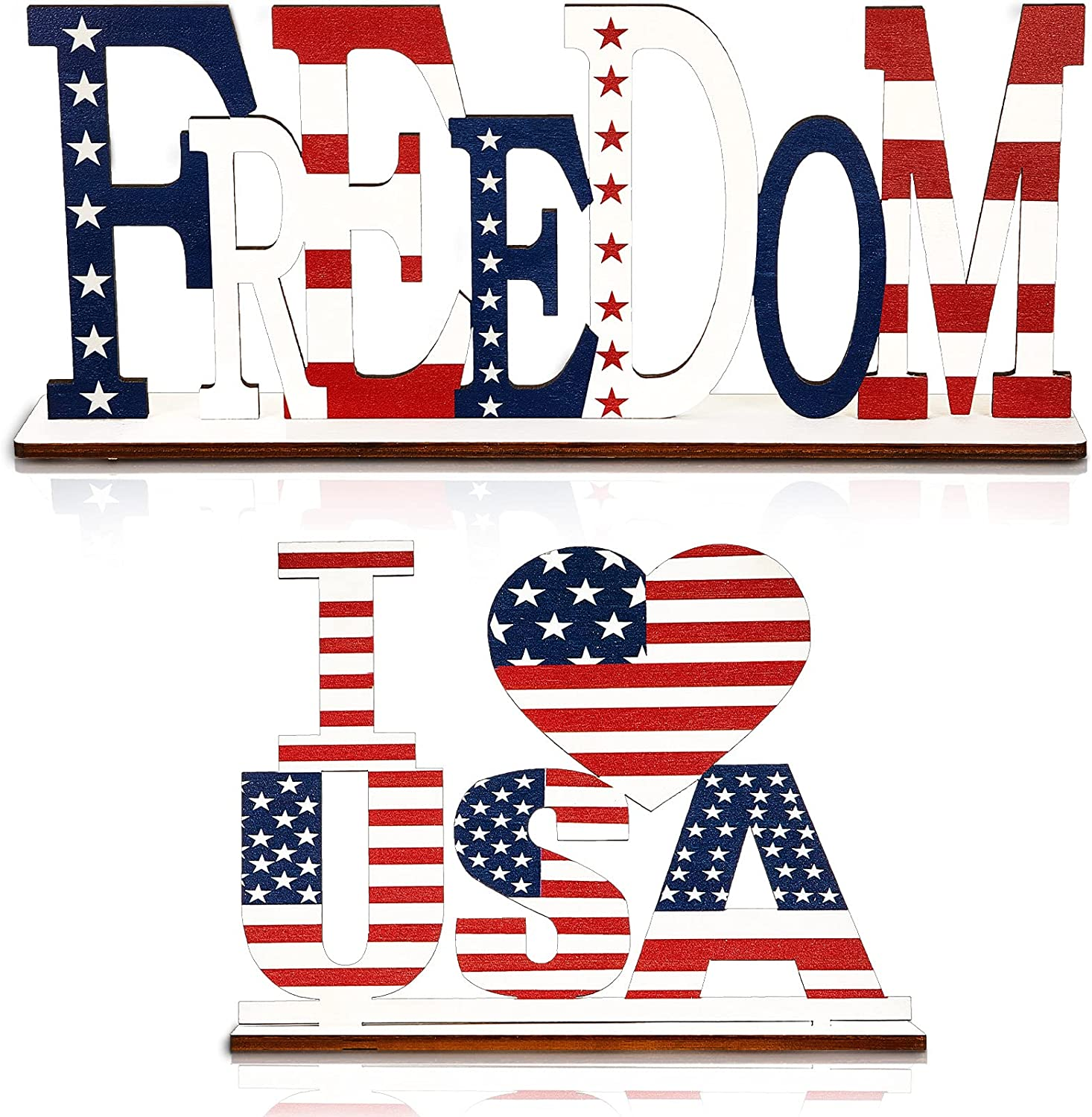2 Pieces Independence Day Wooden Home Table Decoration 4th of July Letter Sign Blessed Table Centerpiece Patriotic Wooden I Love USA and Freedom Decorative Plaque for Memorial Day Home Room Decor