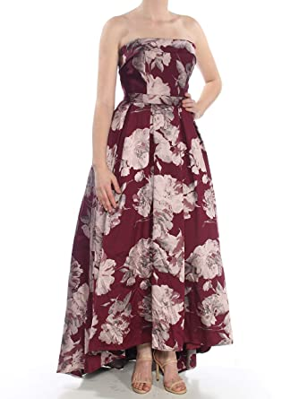 1cf79012 Xscape $299 Womens New 1207 Burgundy Floral Brocade Strapless Gown 8 B+B at  Amazon Women's Clothing store: