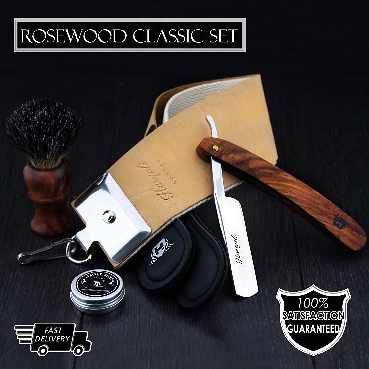 NEW Haryali Hand Assembled Classic Collection Straight Cut Throat Wooden Shaving Razor Wooden Black Badger Hair Shaving Brush Brown Leather Strop & DOVO Honing Paste. by Haryali London