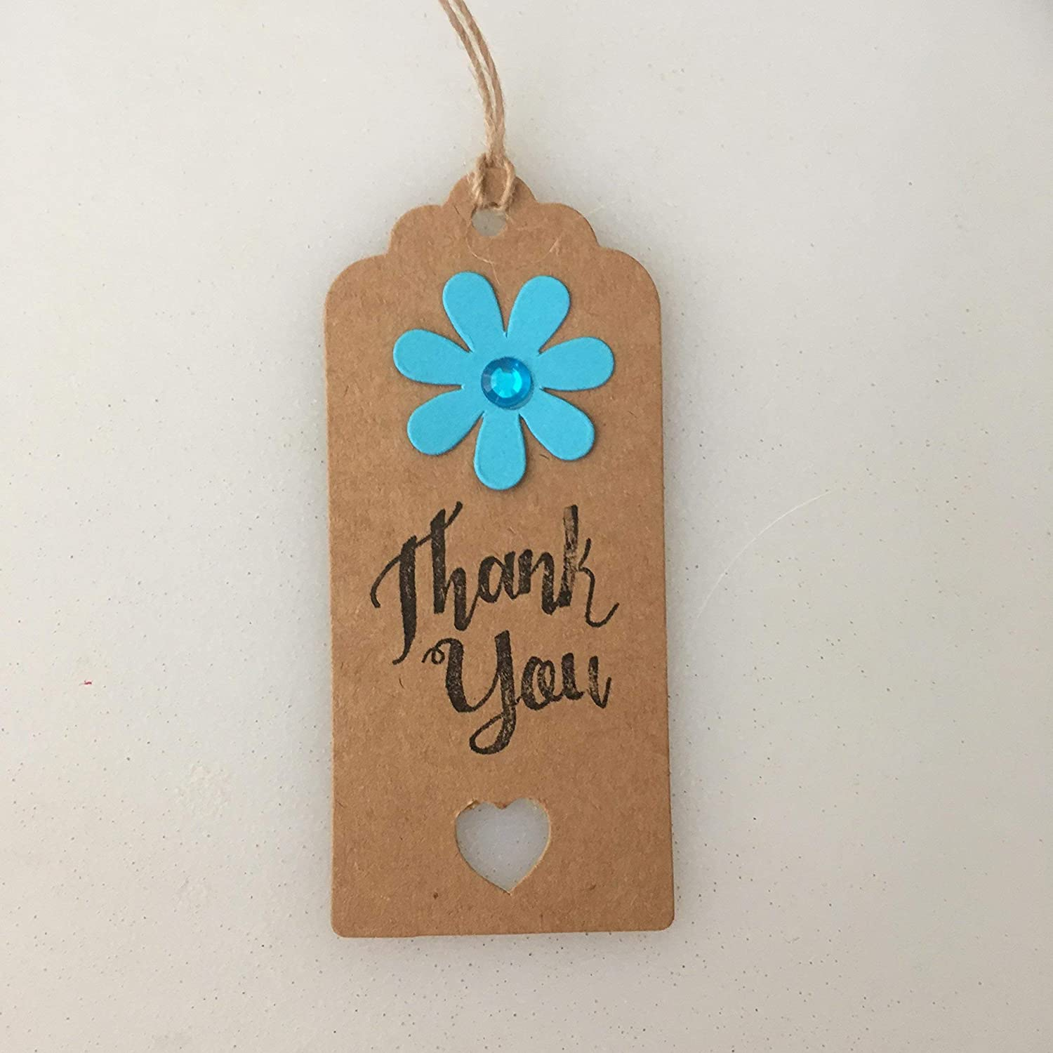 Set of 4 Flower Design Hand Stamped -Teacher Thank You Gift Tags Gift Labels Handmade