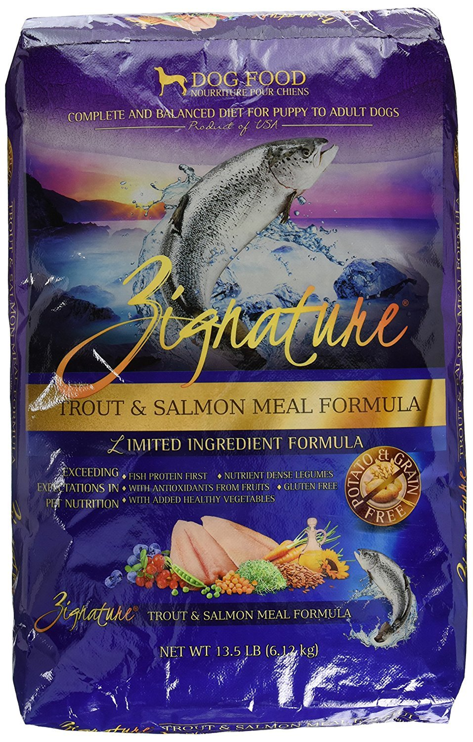 Zignature Trout And Salmon Dry Dog Food 13 5 Lb Bag