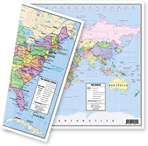 "US and World Desk Map (13"" x 18"" Laminated) for Students, Home or Classroom Use by American Geographics"