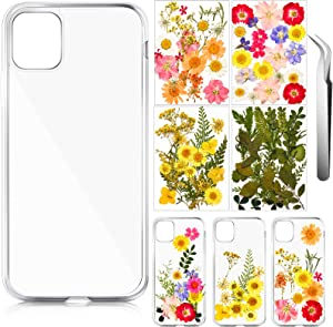 4 Pieces Transparent Personalized Mobile Phone Case Include Hard Blank Phone Case Shockproof Soft Sublimation Phone Cover with Tweezers 4 Pack Dried Flower for DIY (Compatible with iPhone 12/12 pro)