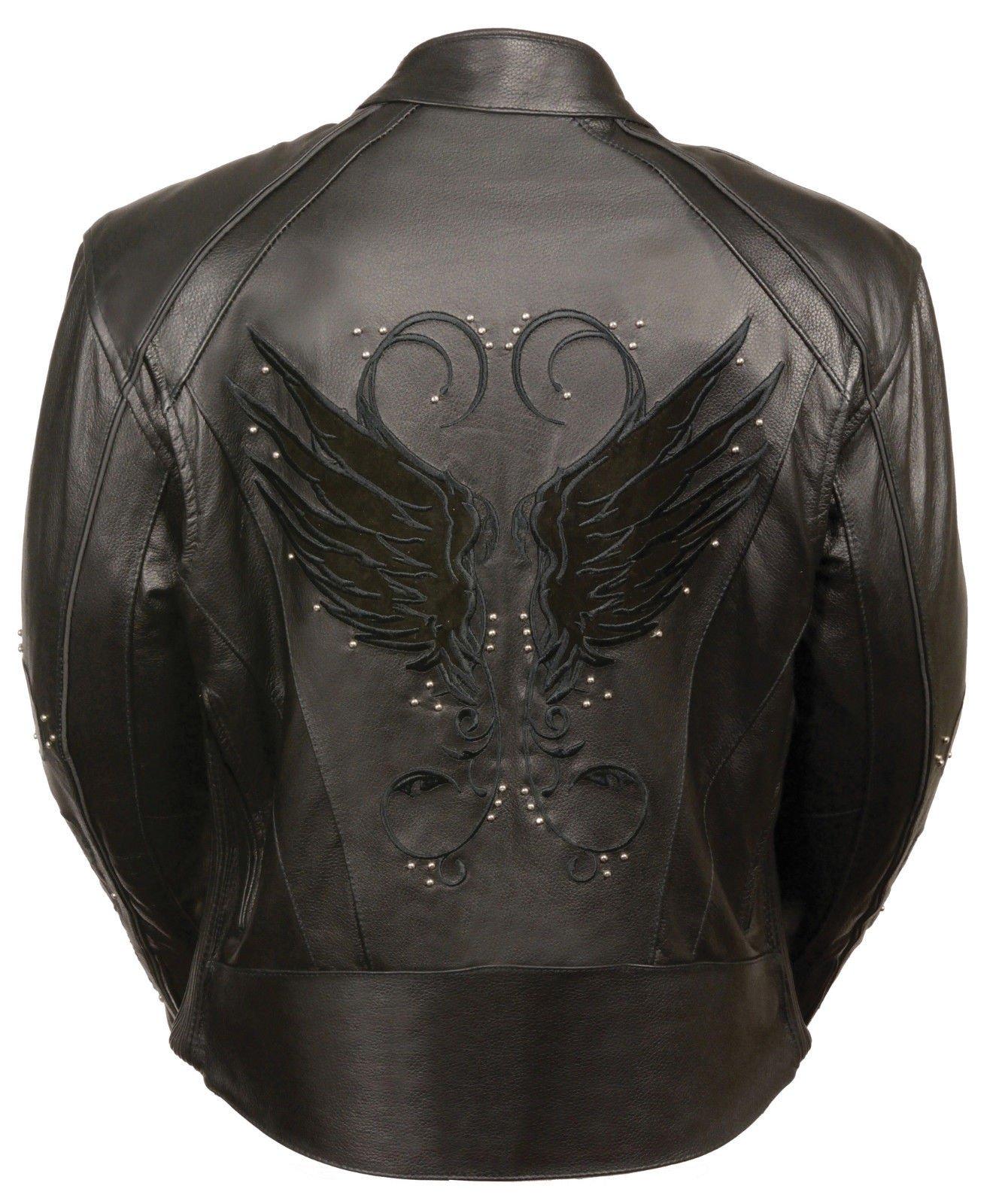 Milwaukee Motorcycle women's biker blk Wing detailing and studed leather Gun pocket jacket (XL Regular)