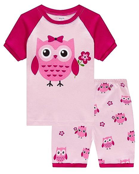 Amazon.com: Pijamas para niñas de manga corta pijamas niños ...