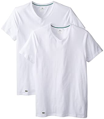 17119353ee0 Lacoste Men s 2-Pack Colours Cotton Stretch V-Neck T-Shirt at Amazon Men s  Clothing store