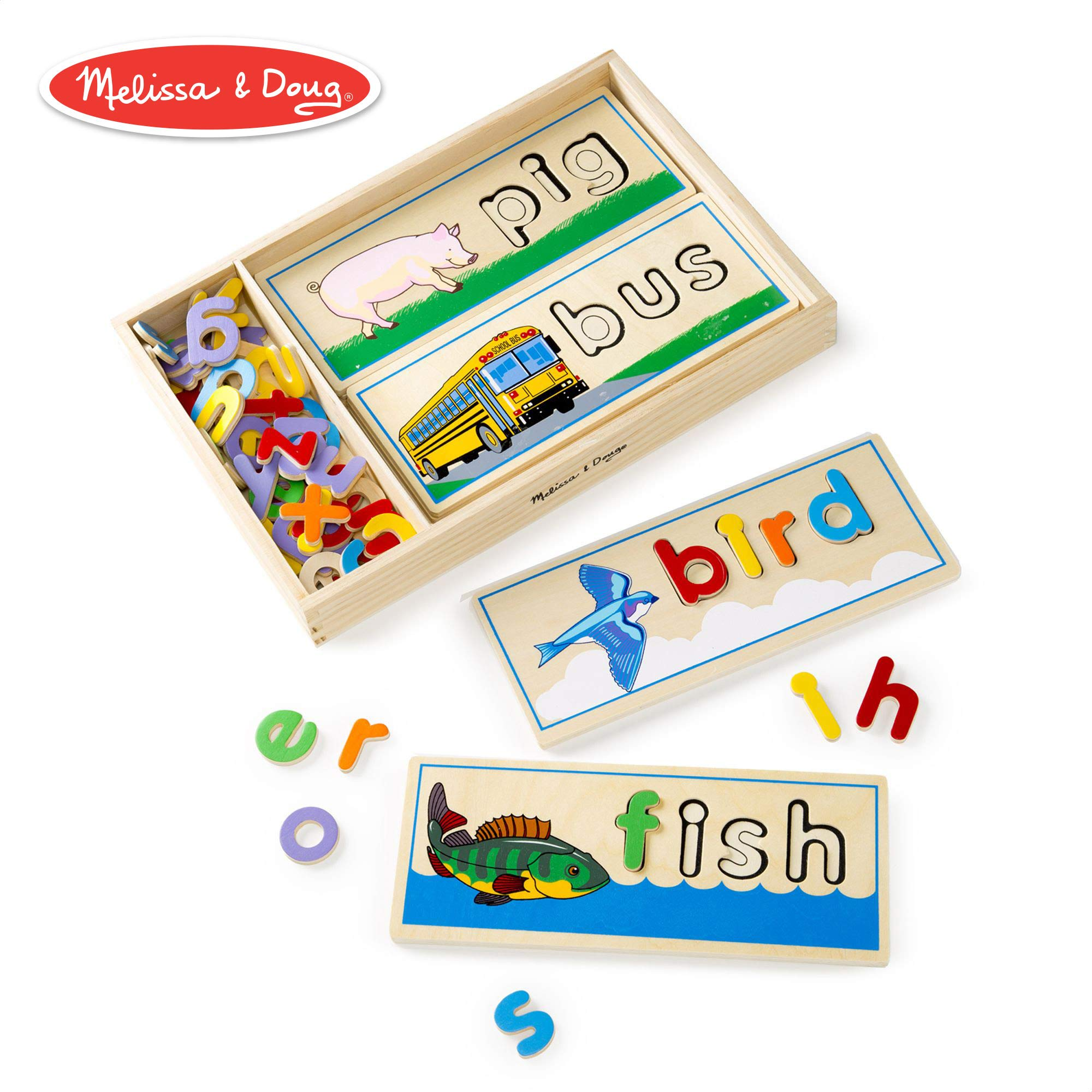 Melissa & Doug See & Spell Learning Toy (Developmental Toys, Wooden Case, Develops Vocabulary and Spelling Skills, 50+ Wooden Pieces) by Melissa & Doug