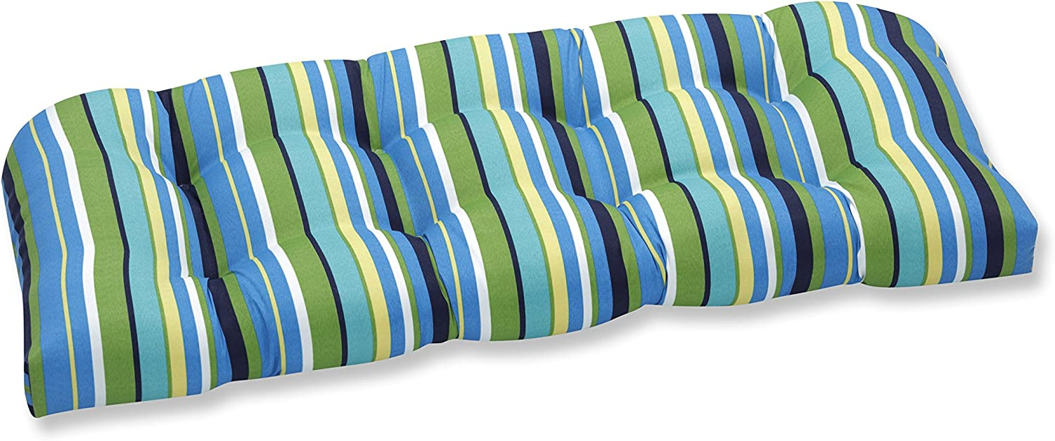 "Pillow Perfect Outdoor/Indoor Topanga Stripe Lagoon Tufted Loveseat Cushion, 44"" x 19"", Blue"