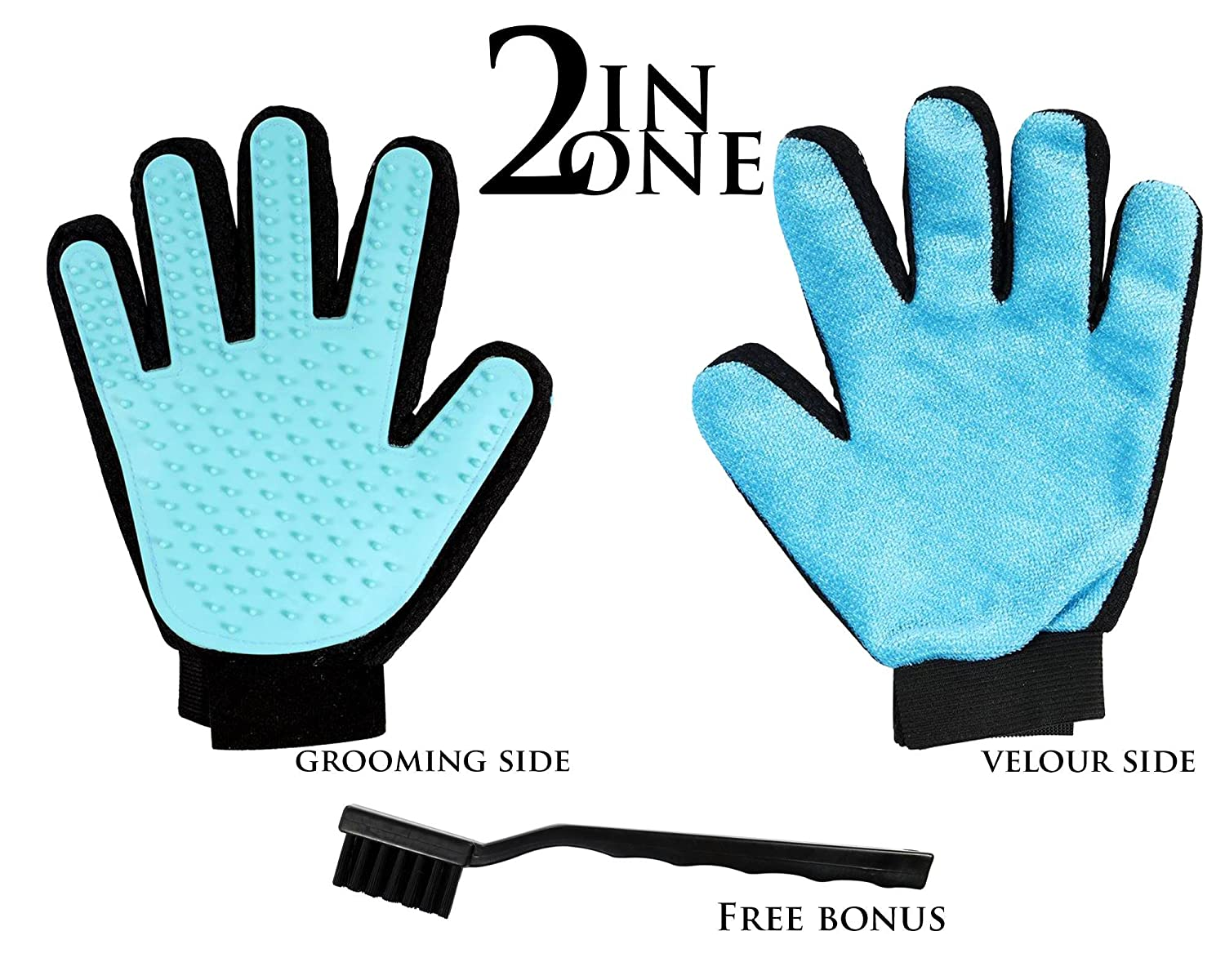 2 in 1 Pet Grooming Glove for Dogs Cats, Hair Comb, Grooming Tool, Deshedding Brush for Short Long Hair, Bathing Glove for Massage + Furniture Fur Remover Mitt with Cleaning Brush
