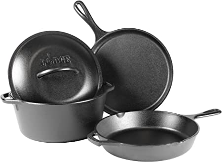 Dutch oven camping cookware set 6 pcs Cast iron Kettle Pan Grill