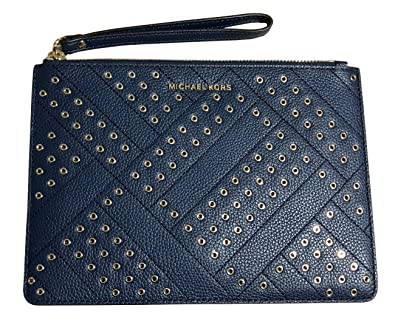 971592f22e37 Image Unavailable. Image not available for. Color  Michael Kors Jet Set  Grommet Leather Clutch Wristlet in Navy