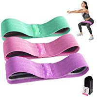 FRETREE Resistance Bands for Legs and Butt - Non Slip Elastic Exercise Bands Set for Stretching, Strength Training, Physical Therapy, Yoga, Home Equipment Workout Booty Bands for Women/Men (3 Packs)