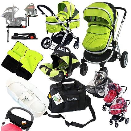 i-Safe Complete Trio sistema de viaje Cochecito de bebé y carrito – Lime completa