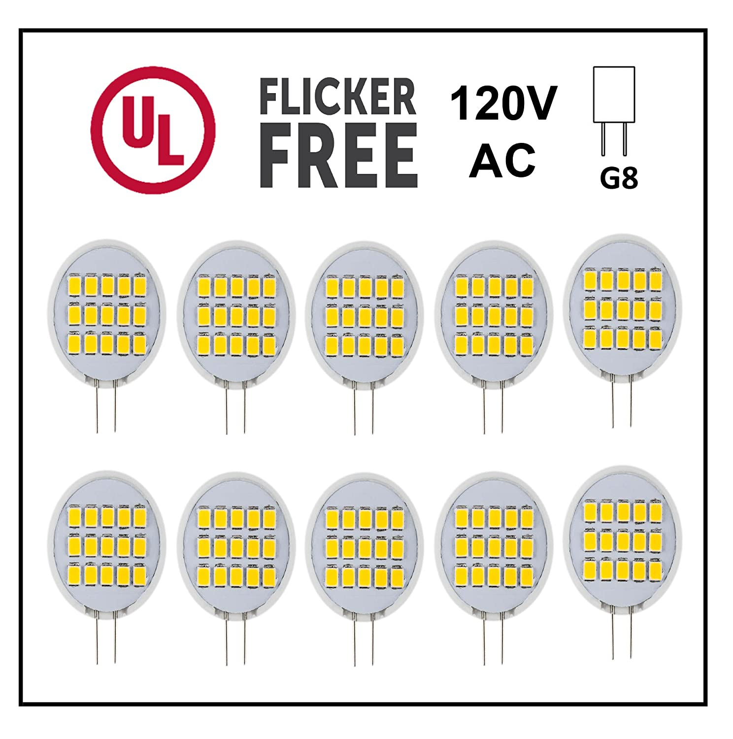 NOT Dimmable Ceramic Sunflower CBConcept UL-Listed Side-Pin G8 LED Light Bulb Pure White 6000K 10-Pack 20W Equivalent,Under Cabinet//Counter Puck Kitchen Light UL.LEDG8-SP-3W-PW-10 180/°Beam Angle 1.6 Watt 200 Lumen