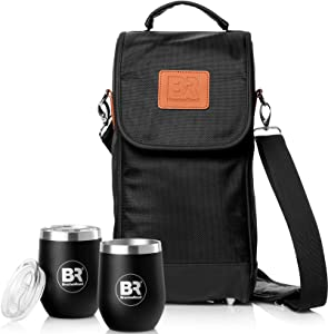 Insulated Wine Carrier with Stainless Steel Glasses   Portable Wine Bag, Nautical Wine Purse   Carrier Case for Wine Accessories- Water Resistant Tote Bag.Picnics-Boating Wine Gifts for Women (Black)