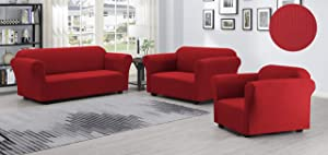 Sofa Cover 1, 2, 3 Piece Spandex Non Slip Soft Couch Loveseat Chair Protector Slipcover Stretch Protection Love Seat Furniture Covers For Sofa And Loveseat ( 3PC SOFA, LOVESEAT & CHAIR SET,RED )