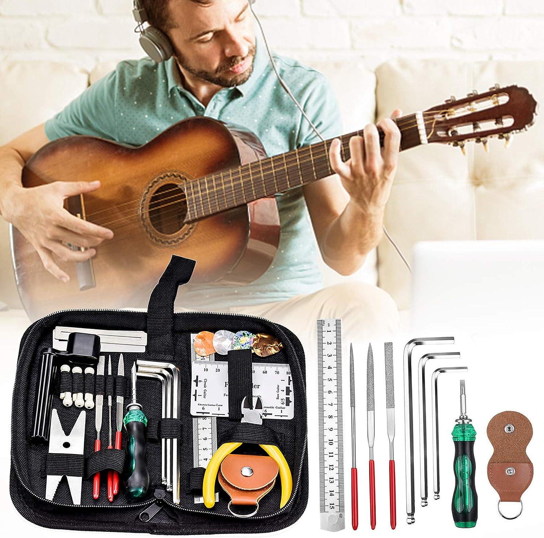 Kit de Limpieza de Mantenimiento Guitarra para Ukelele Banjo Bajo 26 Piezas Kit Herramientas Guitarra El/éctrica