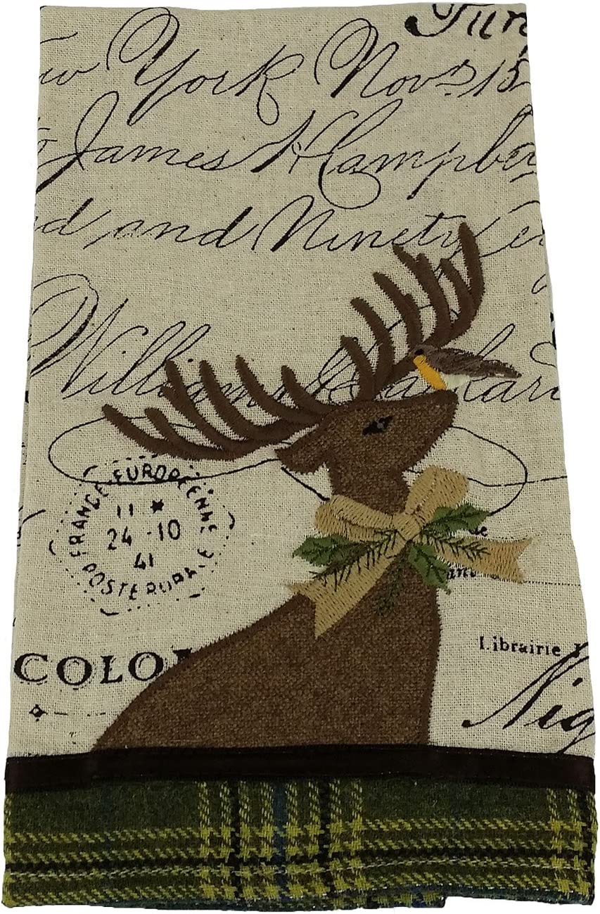 Xia Home Fashions Reindeer with Applique Suede Collection Christmas Tea Towel 16 by 22-Inch