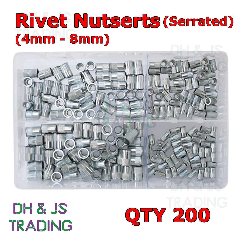 Assorted Box of Serrated Rivet Nutserts 4mm 5mm 6mm 8mm Rivet Nuts Qty 200 DH & JS Trading