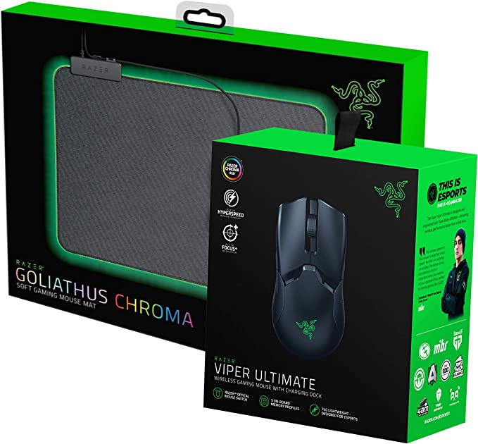 Razer Viper Ultimate Ambidextrous Wireless Gaming Mouse with Dock Goliathus Chroma Mouse Pad Bundle at Kapruka Online for specialGifts