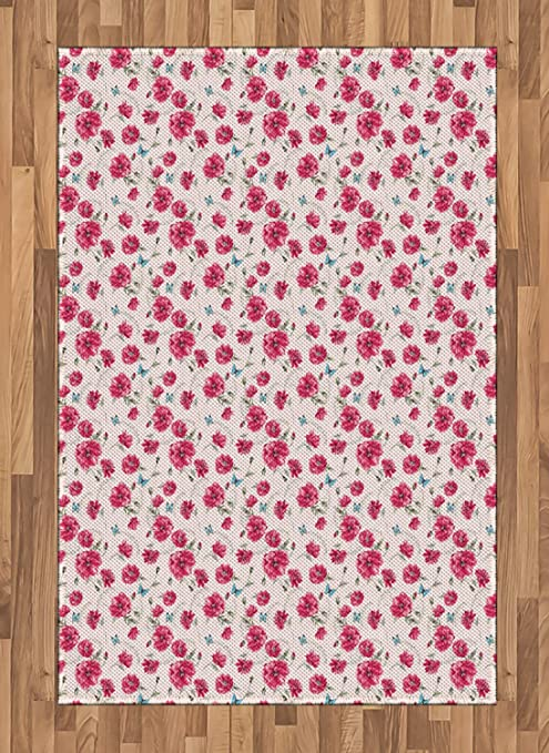 Ambesonne Aqua And Pink Area Rug Gentle Poppies Of Summer On Pastel Background With Butterflies Flat Woven Accent Rug For Living Room Bedroom Dining Room 4 X 5 7 Aqua Pink And