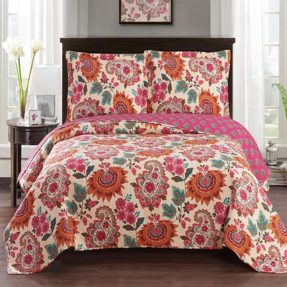 Tamiya Twin / Twin-Extra-Long Size, Over-Sized Coverlet 2pc set, Luxury Microfiber Printed Quilt by Royal Hotel