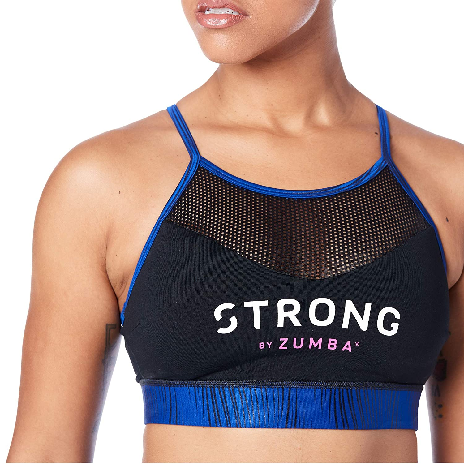 STRONG by Zumba Gym Athletic High Neck Mesh Inserts Workout Bras for Women