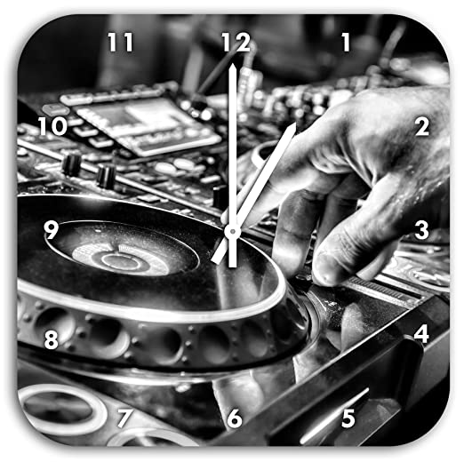 Monocrome, Tocadiscos DJ, Cool Music, reloj de pared con las ...