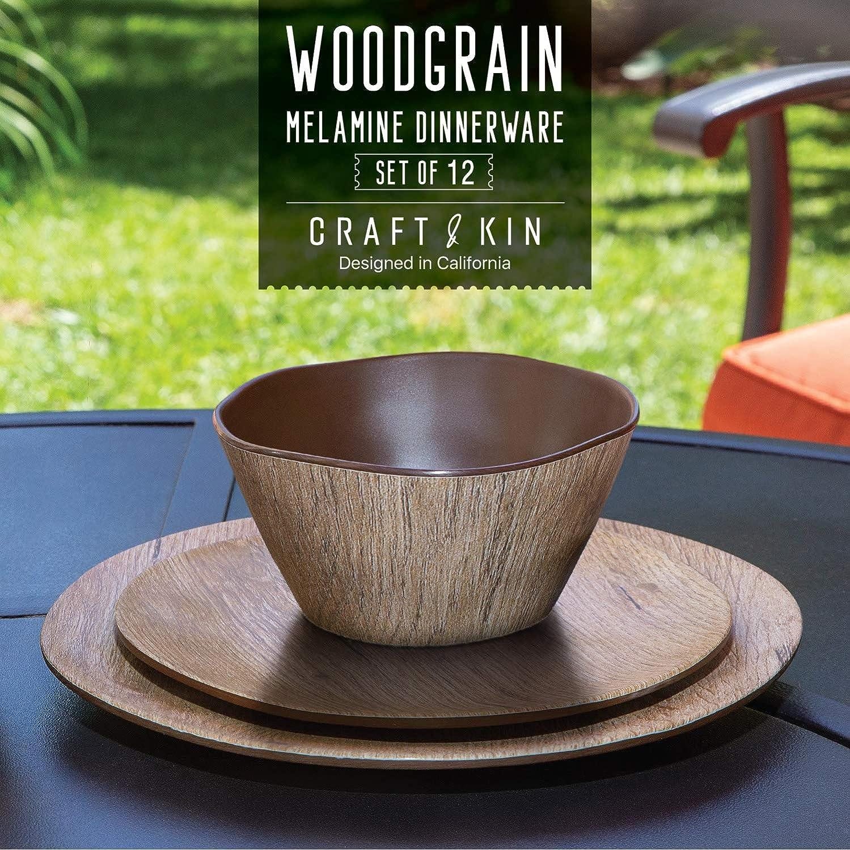 | Melamine Dinnerware Set - 12 pcs Melamine Plates Outdoor Plates Summer Plates and Bowls Sets Melamine Plates Ideal Camping Dish Set Dinnerware Set for 4 Dishwasher Safe (Wood Grain): Dinnerware Sets