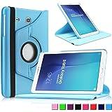 Infiland Samsung Galaxy Tab E 9.6 Custodia Case- Slim girevole in pelle Smart Ultra sottile e leggera 360 Degree Case Cover Custodia per Samsung Galaxy Tab E T560N 24,3 cm (9,6 pollice) Tablet-PC(Blu)