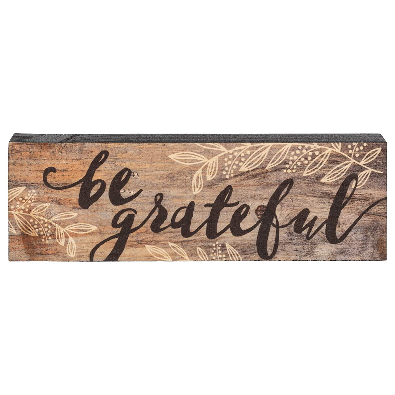 P. Graham Dunn Be Grateful Floral Black Brown 4 x 10 Inch Solid Pine Wood Barnhouse Block Sign