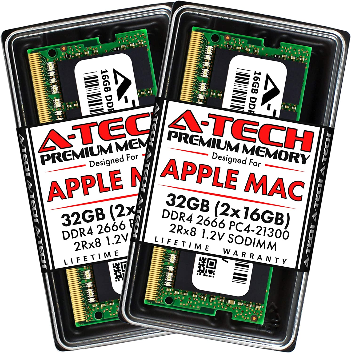A-Tech 32GB (2x16GB) RAM for Apple 2019 iMac 27 inch Retina 5K, 2018 Mac Mini | DDR4 2666MHz PC4-21300 SO-DIMM 260-Pin CL19 1.2V Non-ECC Unbuffered Memory Upgrade Kit