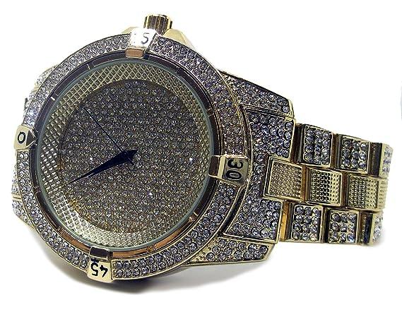 Reloj Bling HipHop, millonarios, con la correa chapada en oro y bisel de diamantes falsos: Amazon.es: Relojes