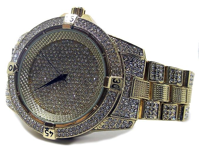 Reloj Bling HipHop, millonarios, con la correa chapada en oro y bisel de diamantes